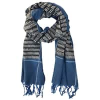 Handmade Cobalt & Black Cotton Ikat Scarf- Fair Trade (India)