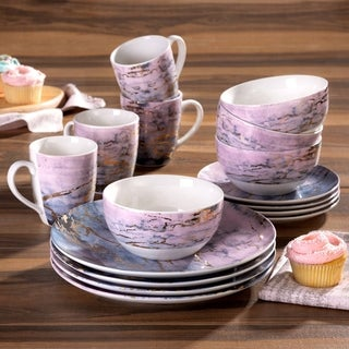 marble pu/gd 16pc dinnerware set