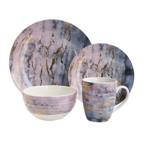marble pu/gd 16pc dinnerware set  sc 1 st  Overstock & marble pu/gd 16pc dinnerware set - Free Shipping Today - Overstock ...