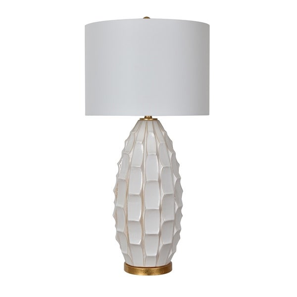 Cambridge White Washed and Gold Leaf 35-inch Table Lamp