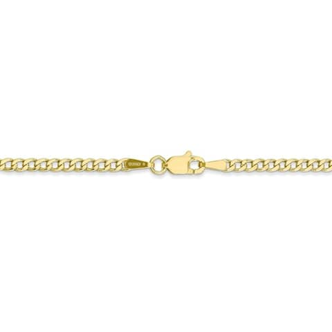Curata 10k Yellow Gold 10-inch 2.2mm Curb Chain Anklet Ankle Bracelet for Women