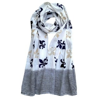 Handmade White, Black & Gold Fleur de Lis Block Printed Cotton Scarf- Fair Trade (India)