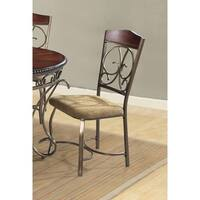 Home Source Dani Expresso Side Chairs with Scrolling Design, Set of 2