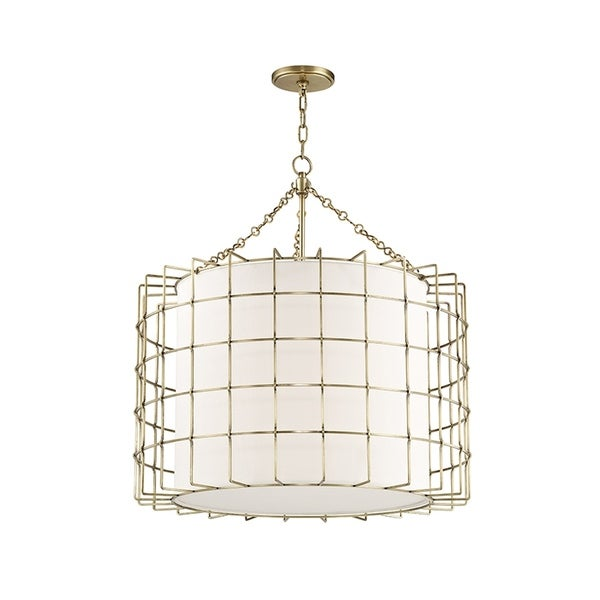 Hudson Valley Sovereign 4-light Aged Brass Pendant