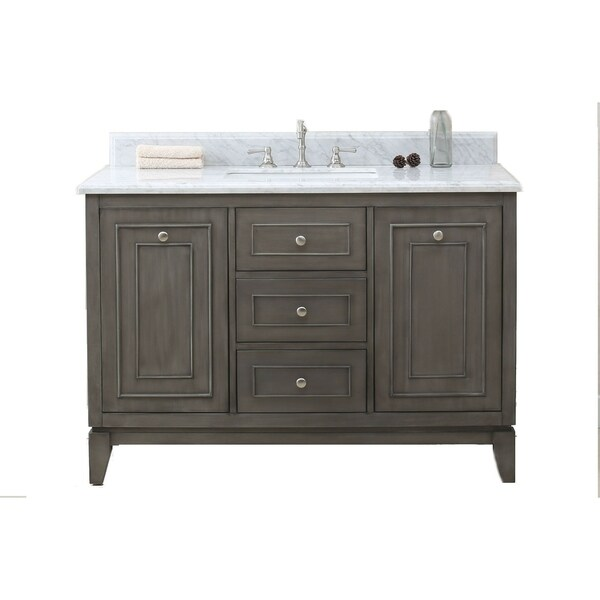 Legion Furniture Silver-grey 49-inch Bathroom Vanity with Marble Top