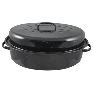 Home Basics Black Carbon Steel 19.5-inch Roaster with Lid