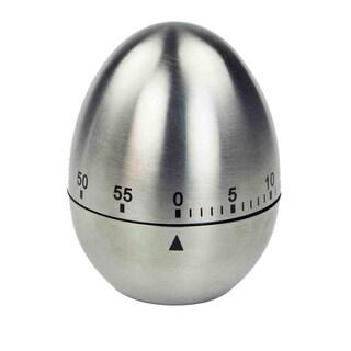 Home Basics Silver Stainless Steel Mechanical Egg Shaped Timer