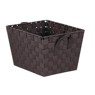 Home Basics Brown Polyester Woven Open Strap Bin