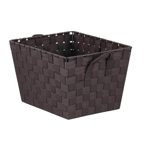 Home Basics Brown Polyester Woven Open Strap Bin