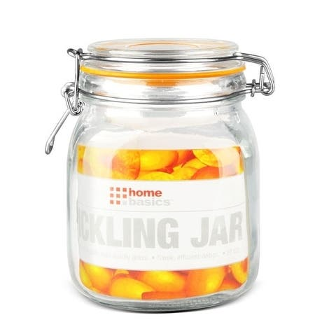 Home Basics Glass 6-inch Air-tight Pickling Jar with Lid