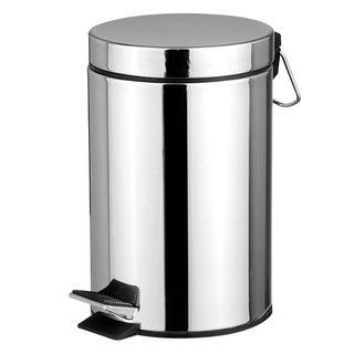 Home Basics Silver 20-liter Round Waste Bin