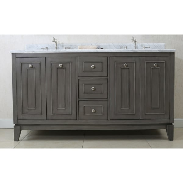 Shop Legion Furniture 61 in. Bathroom Vanity in Silver Gray with Marble Top - Free Shipping Today - Overstock.com - 20602533