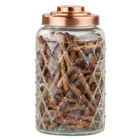 Home Basics Glass 1.1-gallon Air-tight Jar with Copper Lid