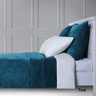 French Impression Ultra Soft Short Pile 3pc Fleece Bedspread Set