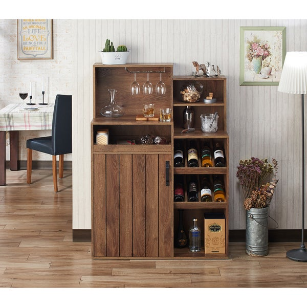 Furniture of America Gern Rustic Walnut 39-inch Buffet with Wine Rack. Opens flyout.