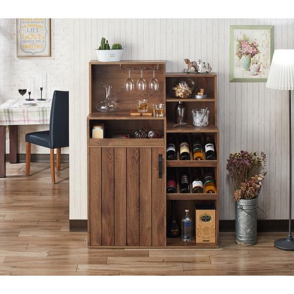 Furniture of America Gern Rustic Walnut 39-inch Buffet with Wine Rack