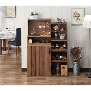 Furniture Of America Holcomb Rustic Distressed Walnut Buffet Wine Rack