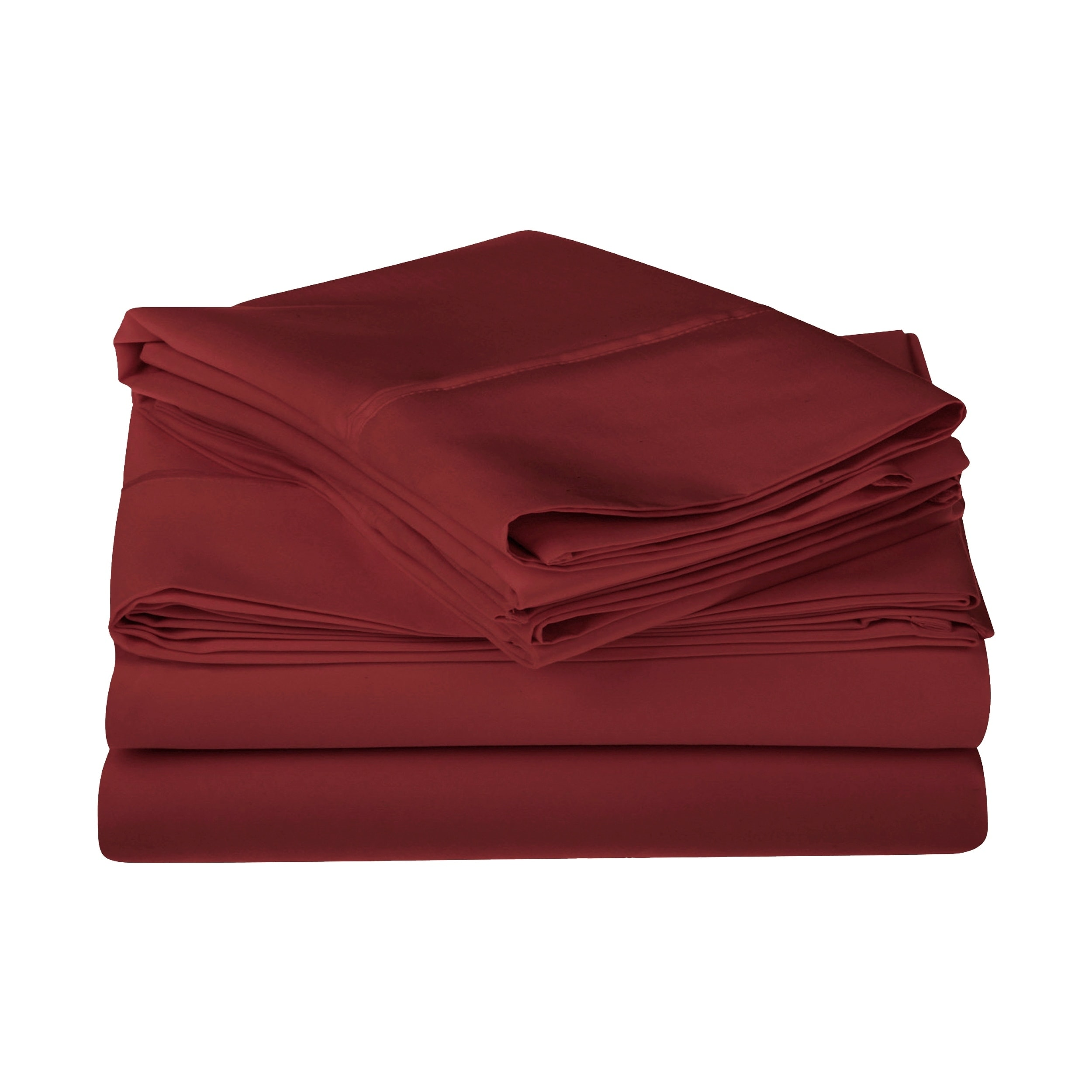 1200 Count Egyptian Cotton Extra Deep Pocket Red Solid Bed Sheet Set