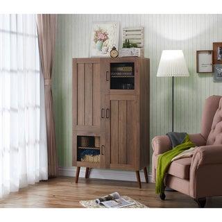 Furniture of America Maua Rustic Walnut 4-door Multi-Function Cabinet
