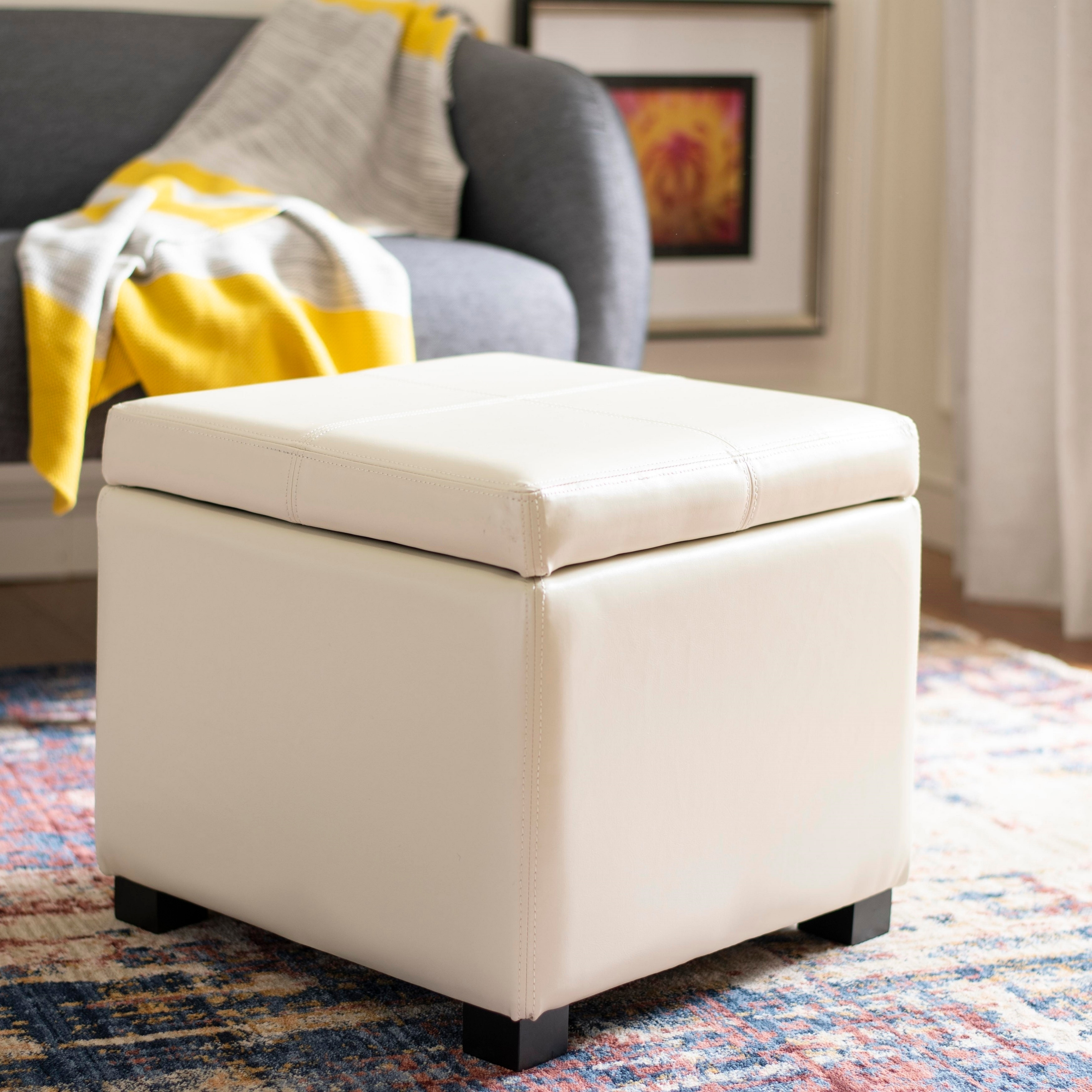 Groovy Safavieh Broadway Cream Leather Storage Ottoman Gmtry Best Dining Table And Chair Ideas Images Gmtryco