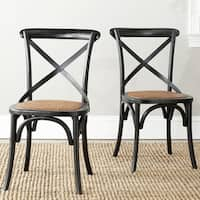 Safavieh Dining Country Bradford X Back Antiqued Black Side Chair (Set of 2)