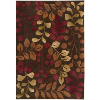 Nourison Hand-tufted Contours Botanical Area Rug (36 x 56 - Red/Brown)