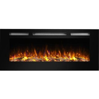 """PuraFlame 50"""" Alice In-Wall Recessed Electric Fireplace, Touch Screen Control Panel, Remote Control, 1500W, Black - N/A"""