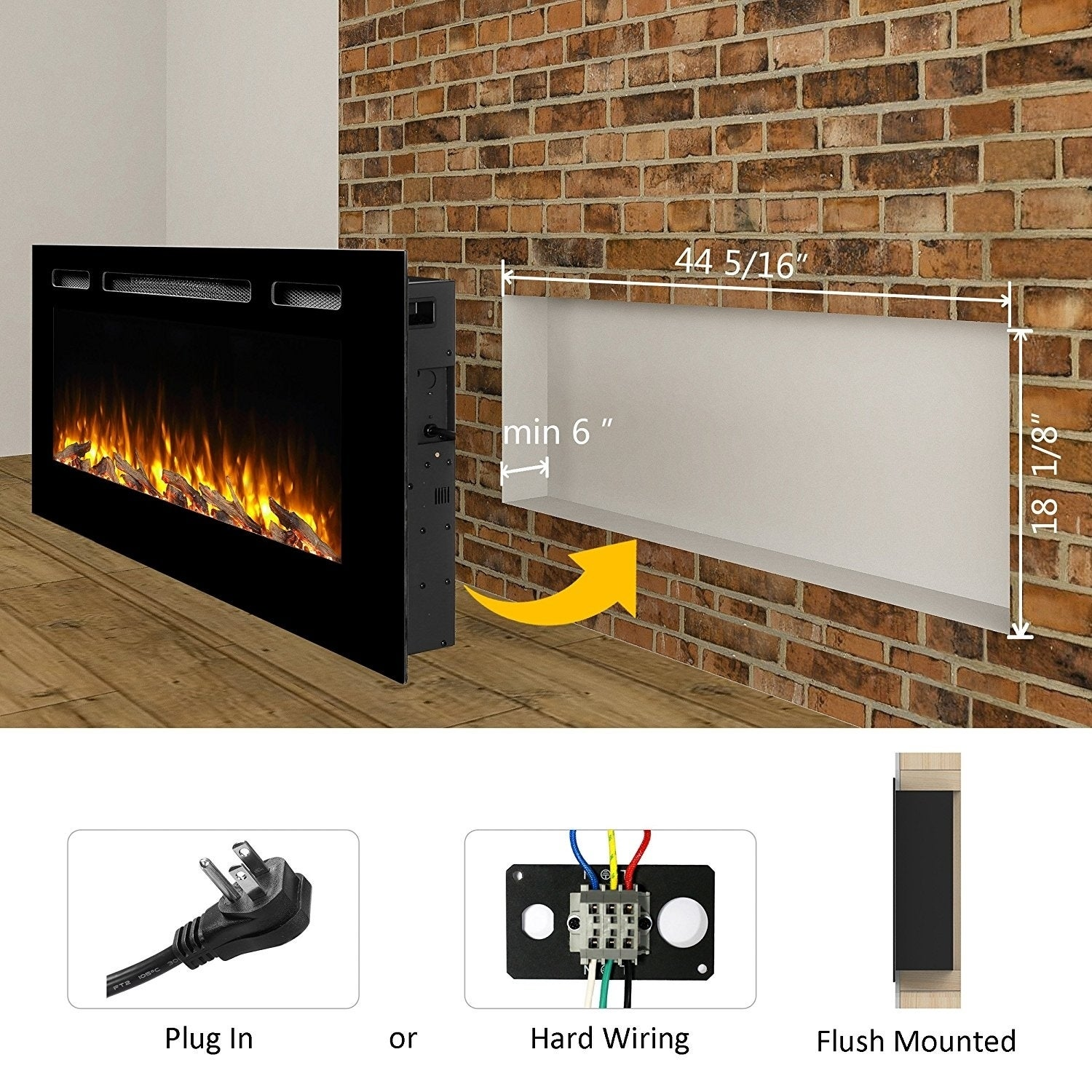 Shop Puraflame 50 Alice In Wall Recessed Electric Fireplace