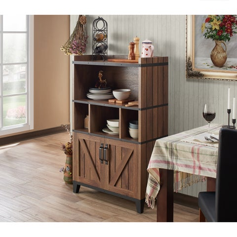 Furniture of America Holcomb Rustic Distressed Walnut Buffet Cabinet - N/A
