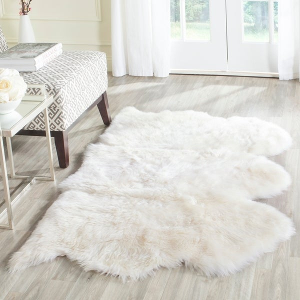 Safavieh Prairie Natural Pelt Sheepskin Wool White Shag Rug - 3' X 5'
