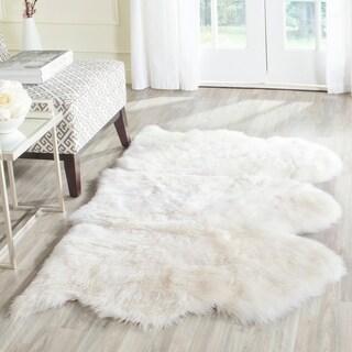 Natural Pelt Sheepskin Wool White Shag Rug (3' x 5') - 3' x 5'