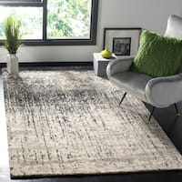 Mid-Century Modern Abstract Black/ Light Grey Distressed Rug - 5' x 8'