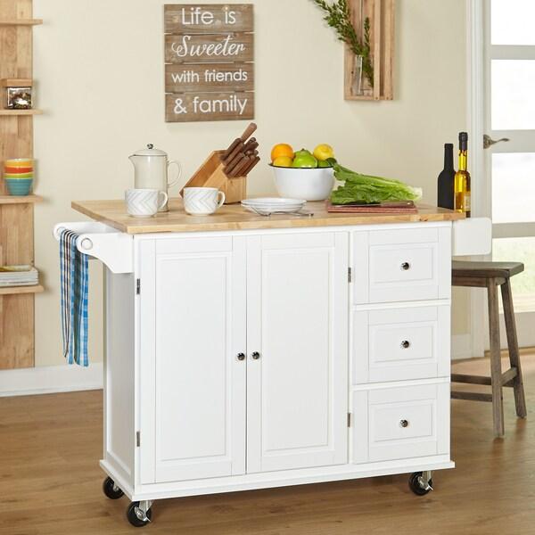 Shop 3-drawer Drop Leaf Kitchen Cart