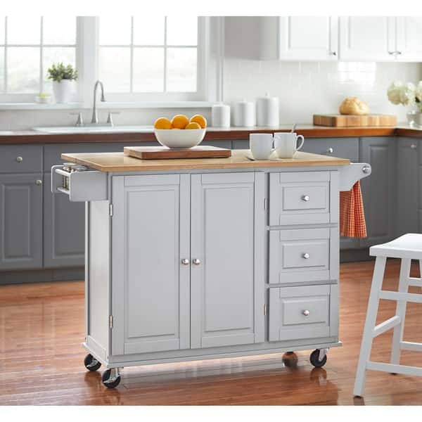 Shop 3-drawer Drop Leaf Kitchen Cart - Free Shipping Today ...