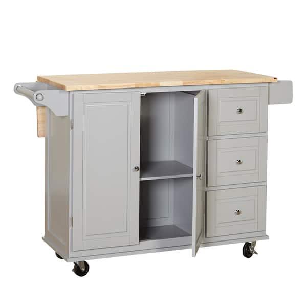 Shop 3-drawer Drop Leaf Kitchen Cart - On Sale - Free ...