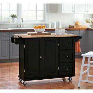 Simple Living 3-drawer Drop Leaf Kitchen Cart (Black)