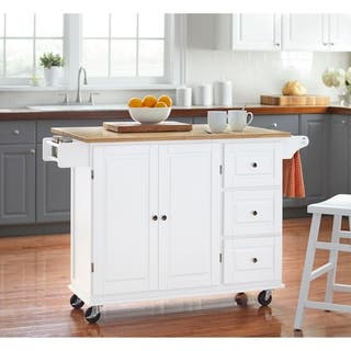 3 Drawer Drop Leaf Kitchen Cart