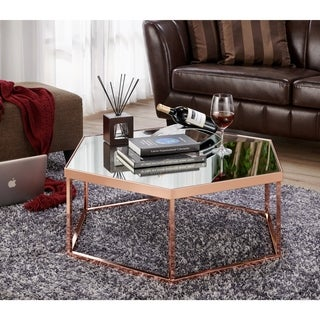 Furniture Of America Rochelle Glam Rose Gold Hexagon Coffee Table