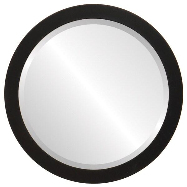 Vienna Framed Round Mirror in Matte Black