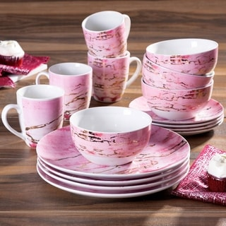 American Atelier Marble Pink/Gold Porcelain16-Piece Dinnerware Set