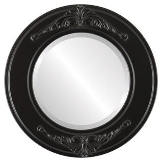 Ramino Framed Round Mirror in Matte Black