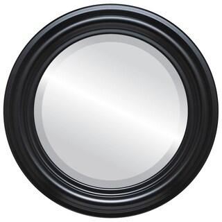 Philadelphia Framed Round Mirror in Matte Black