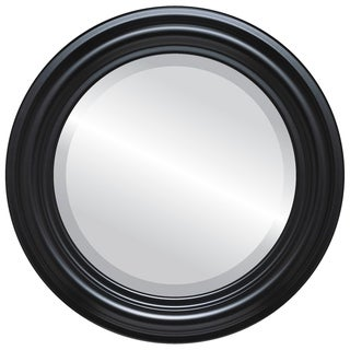 Philadelphia Framed Round Mirror in Matte Black