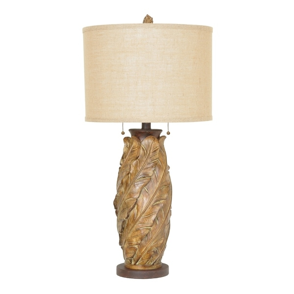 Banana Leaf Tobacco 35-inch Table Lamp