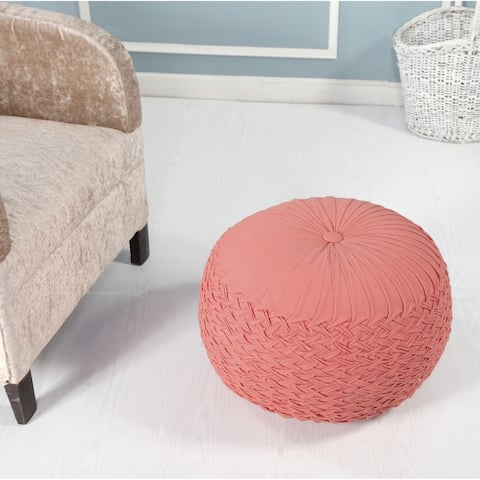 LR Home Bee's Knees Pleated Coral Pouf Ottoman
