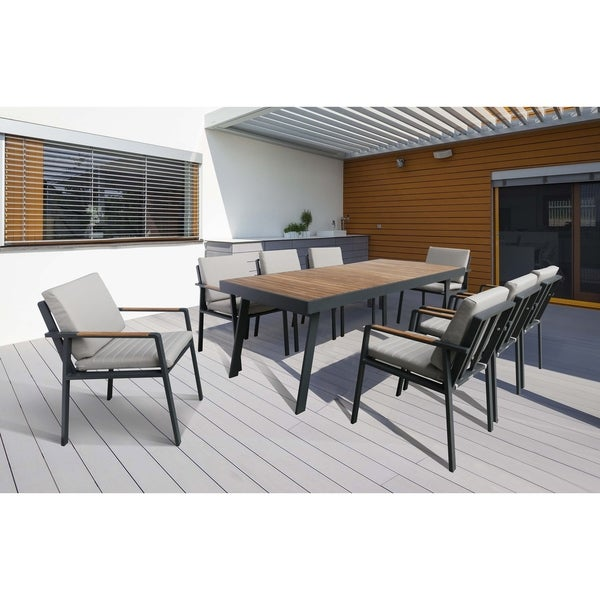 Armen Living Nofi Outdoor Patio Dining Set In Charcoal Finish With Taupe Cushions Table
