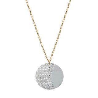 Eternally Haute Italian Two-tone Sterling Silver Geometric Pendant Necklace