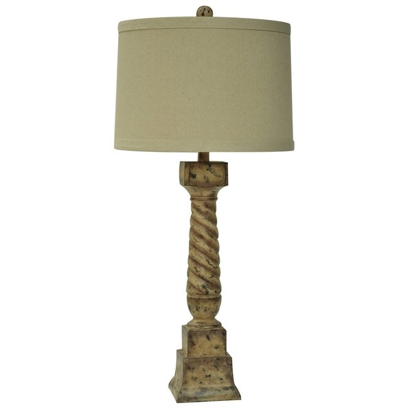 French Post Antique Paint 35-inch Table Lamp
