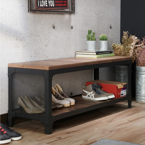 Furniture of America Maua Rustic Oak Metal Storage Entryway Bench. Opens flyout.