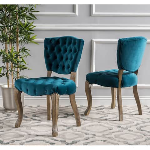 Bates Tufted Grey Fabric Dining Chairs (Set of 2)